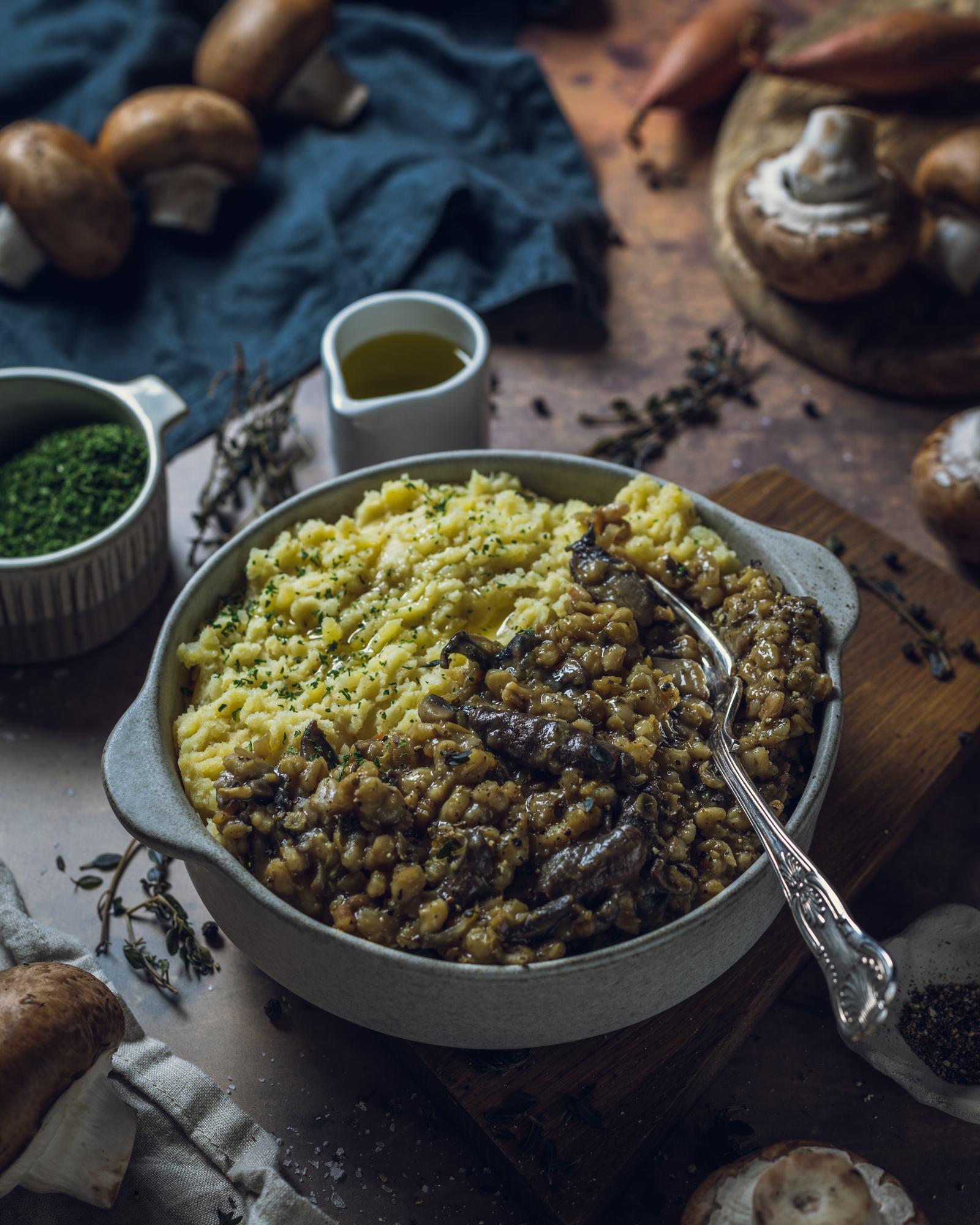 Mushroom Gravy Stew with vegan potato mash