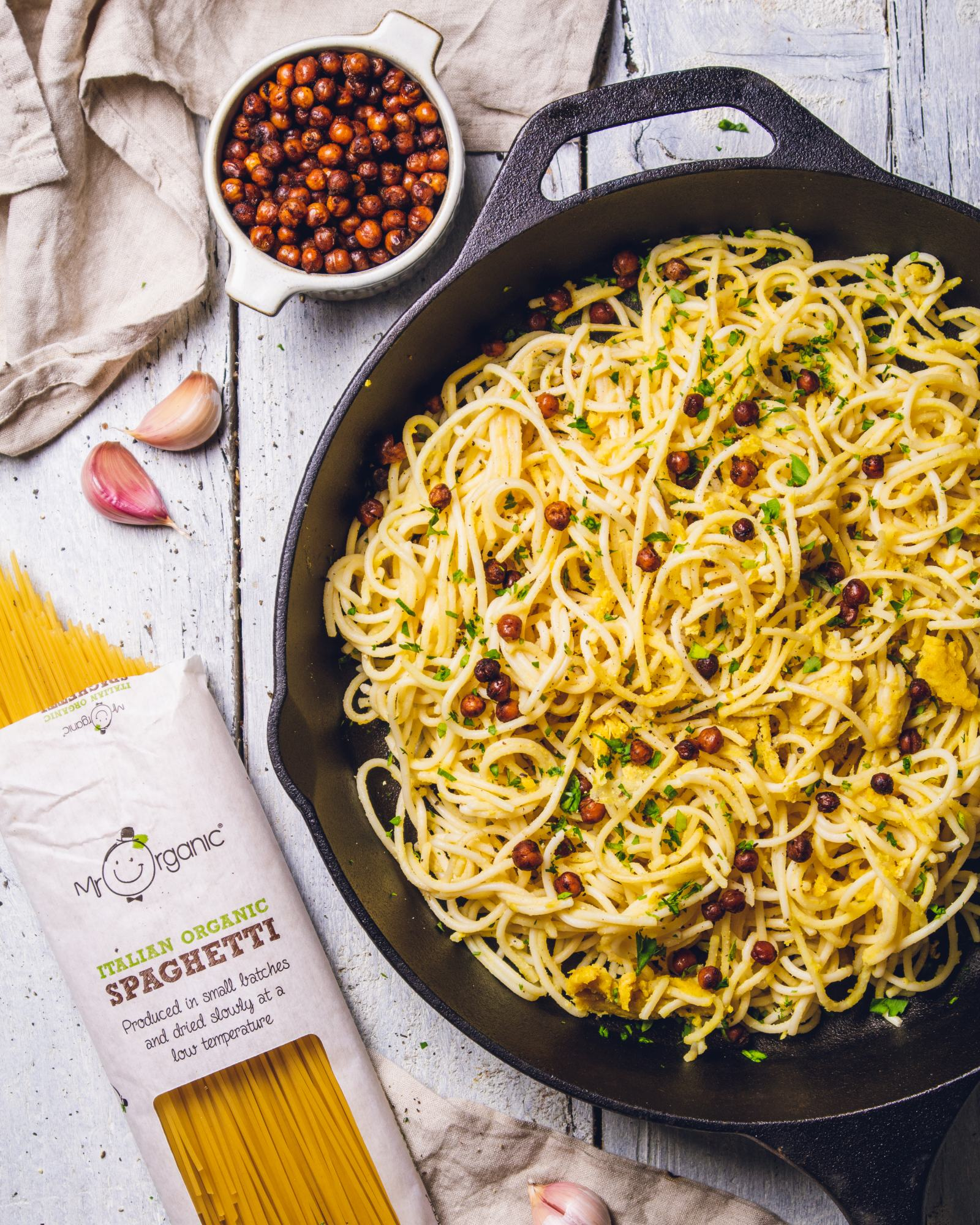 Vegan Carbonara with Smoky Chickpeas