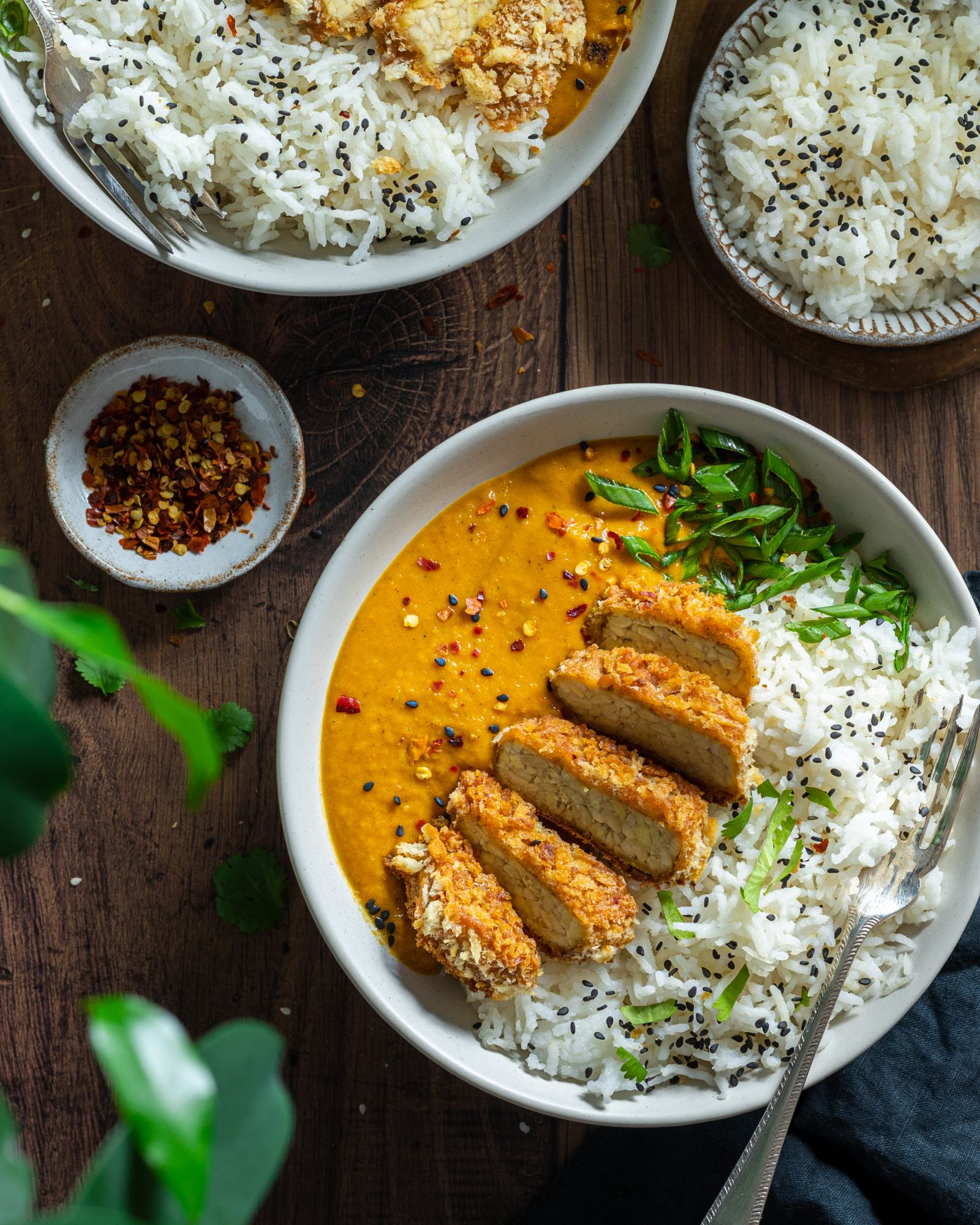 Vegan Katsu Curry with Tempeh - two bowls on a dark backdrop, focus on one of the bowls, rice and katsu sauce on each bowl with a fork, sliced crunchy panko coated tempeh on top, tiba tempeh packaging placed besides the bowls