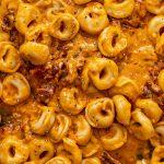 Creamy Sun-Dried Tomato Pasta - Vegan Tortellini close up