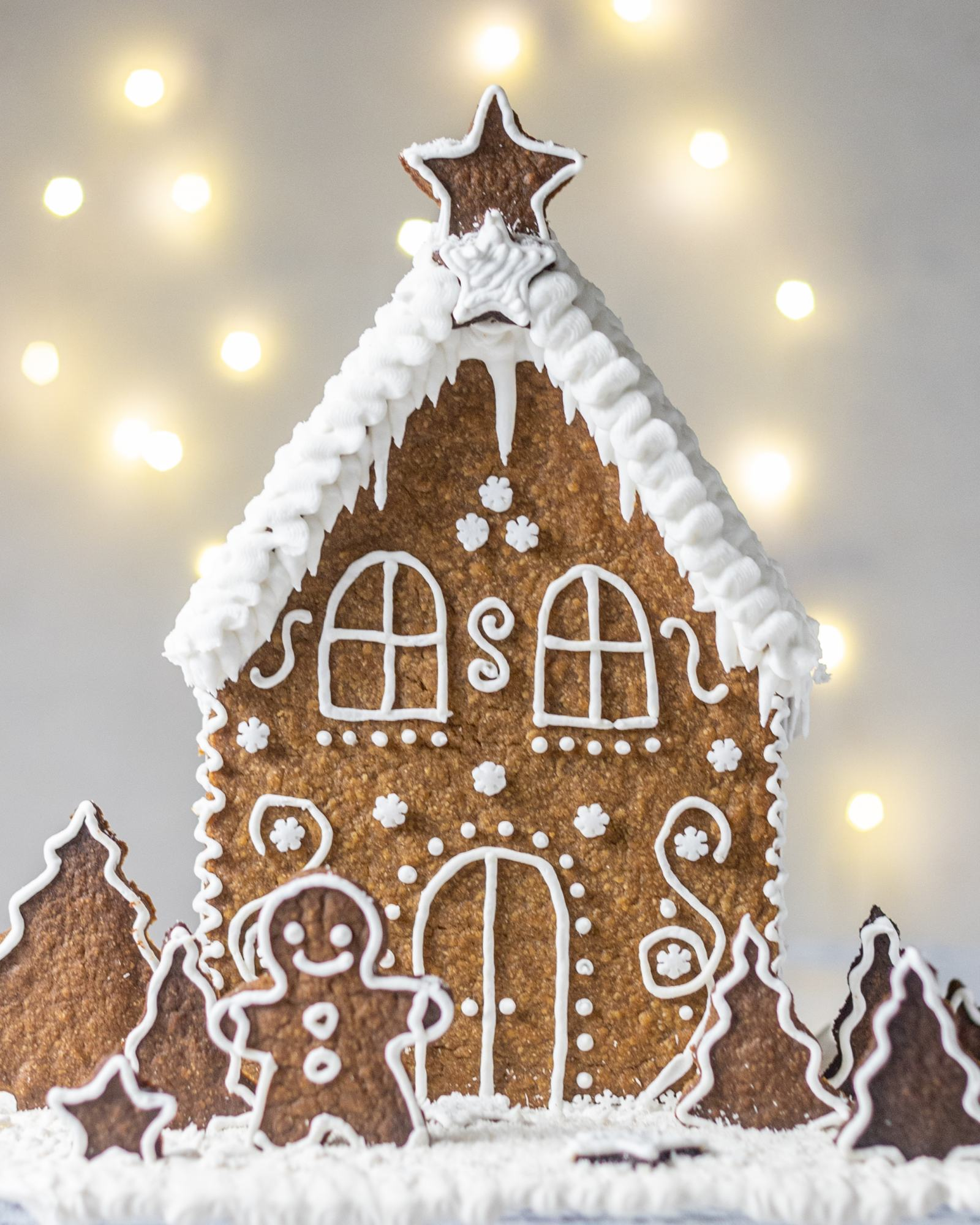 Vegan Gingerbread House, decorated with white buttercream and 'Ho Ho' written on the back, with white roof, photographed on a light backdrop with fairy lights
