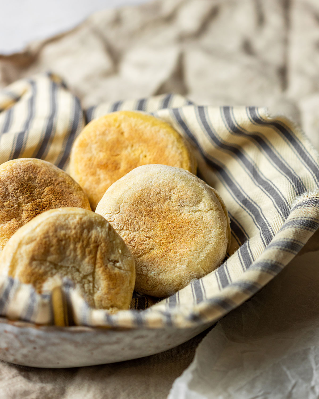 Sourdough English Muffins Recipe Vegan Sourdough Discard Recipe, 4 sourdough english muffins in a bowl